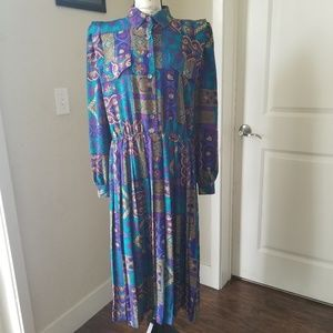 LeslieFay Vintage 80s Stained Glass Pleated Dress